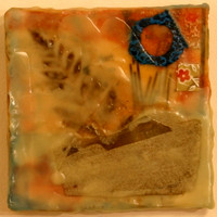 """Sprung Forest"" Encaustic, Mixed Media 4.5"" x 4.5"" $50"
