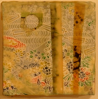 """East of Kyoto"" Encaustic, Mixed Media 4.5"" x 4.5""  $50"