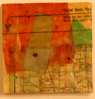 """Directory South"" Encaustic, Mixed Media 4.5"" x 4.5"" $50"